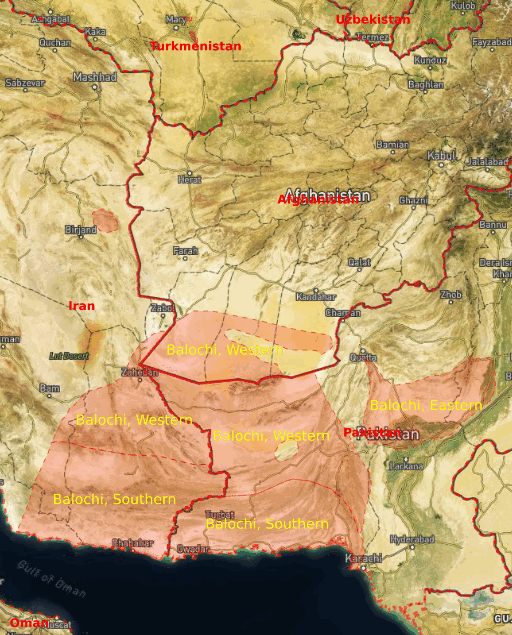 Baluchi language speaking area